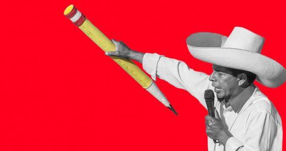 El político peruano Pedro Castillo, sosteniendo un lápiz. ELENA CANTÓN