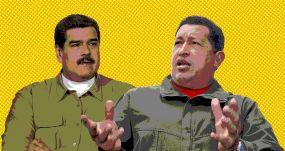 Nicolás Maduro y Hugo Chávez, protagonistas de la revolución bolivariana en Venezuela. ELENA CANTÓN; FLICKR/ENEAS Y BERNARDO LONDOY CON LICENCIA CC BY-NC-SA 2.0