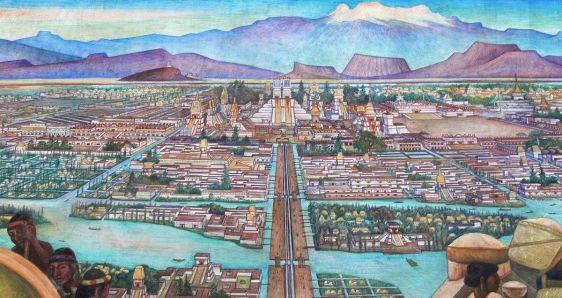 Detalle del mural 'Gran Tenochtitlan', de Diego Rivera (1945), exhibido en el Palacio Nacional de México. ARCHIVO