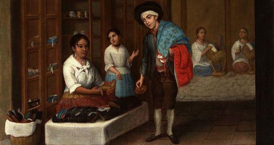Pintura de Joseph Alzíbar perteneciente a la exposición de Casa de México 'Biombos y castas, pintura profana de la Nueva España'. CASA DE MÉXICO