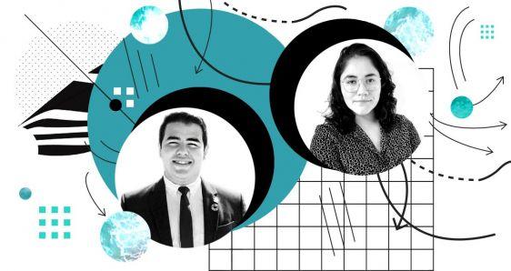 El hondureño Ricardo Pineda y la chilena Isabella Villanueva, jóvenes que luchan por el futuro climático. ELENA CANTÓN